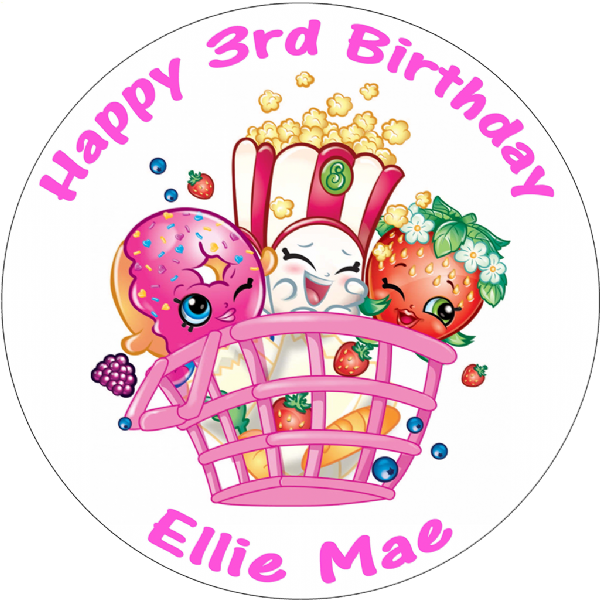 SHOPKINS BASKET PERSONALISED ROUND EDIBLE BIRTHDAY CAKE TOPPER